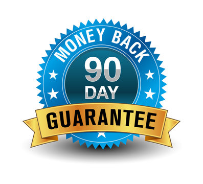 Blue powerful 90 day money back guarantee badge with golden ribbon.