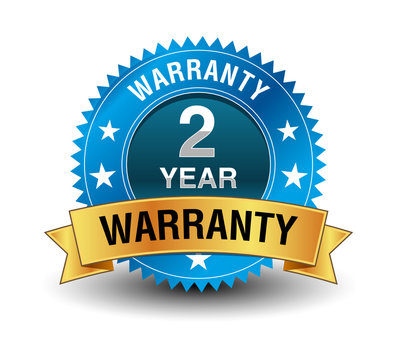 Blue powerful 2 year warranty badge with golden ribbon.