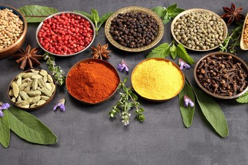 Fototapete - Herbs and spices.