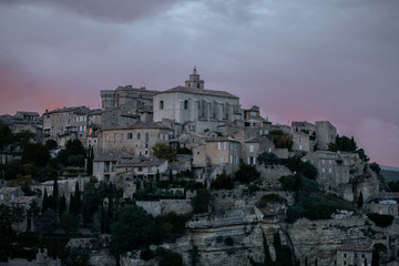 panoramic view of Gordes after sunset