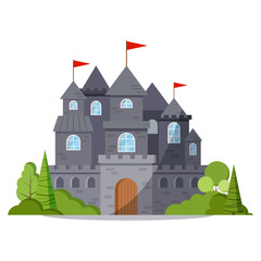 Grey stone cartoon fairy tale castle tower icon with green trees and bushes, red flag.