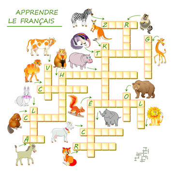 Learn French. Crossword puzzle game with animals. Educational page for children to study French language and words. Printable worksheet for kids textbook. Back to school. Vector cartoon image.