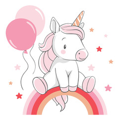 Vector illustration of a cute unicorn,  sitting on the rainbow in pink colors.