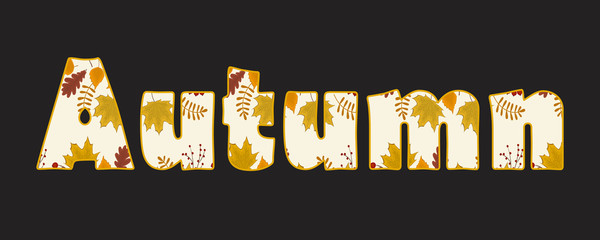 Autumn text. Autumn background with leaves of maple, oak, birch and other trees in the picture. Vector illustration