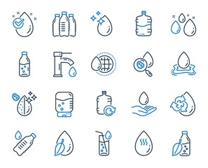 Fototapeta Water drop line icons. Set of Bottle, Antibacterial filter and Tap water linear icons. Bacteria, Cooler and Refill barrel bottle. Liquid drop, antibacterial cleaner and drink machine, tap. Vector