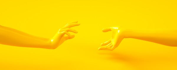 3d rendering illustration of yellow hands. Human body parts. Concept scene for graphic design projects. Shiny plastic glossy material. Horizontal orientation banner. Template for social media and web