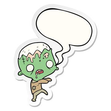 cute cartoon zombie and speech bubble sticker