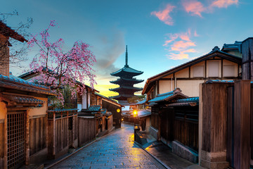 Yasaka Pagoda and Sannen Zaka Street in morning, Kyoto, Japan