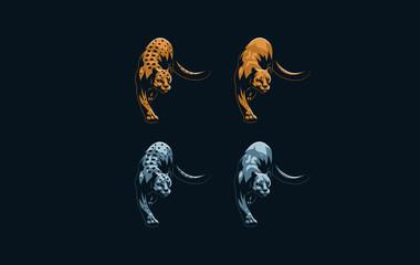 Set of wild cats.