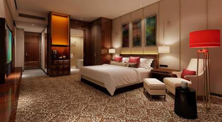 Hotel Room Interior 3D Illustration Photorealistic Rendering