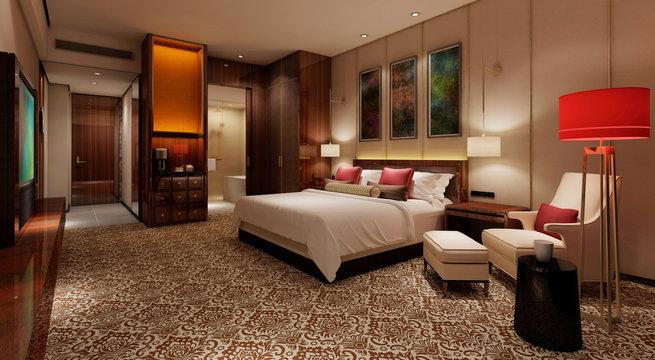 Hotel Room Interior 3D Illustration Photorealistic Rendering