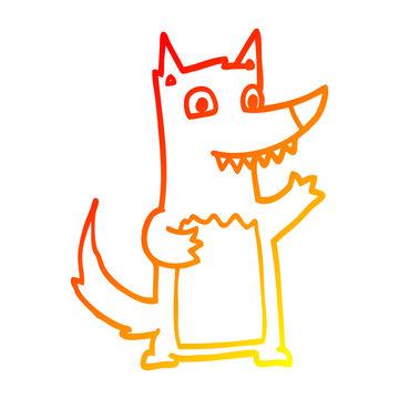 warm gradient line drawing cartoon wolf