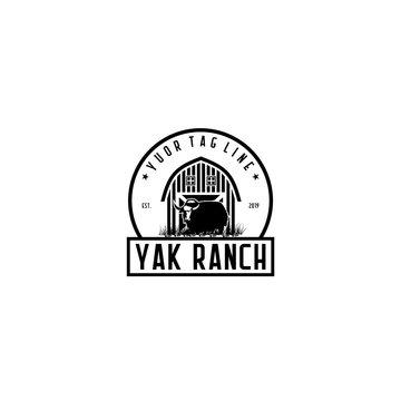 yak ranch rustic logo design
