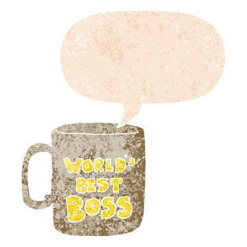 worlds best boss mug and speech bubble in retro textured style