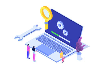 Fototapeta Laptop System update flat style concept. Vector isometric illustration obraz