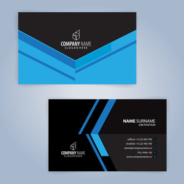 Blue and black modern business card template, Illustration Vector 10