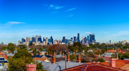 A large panorama of the city skyline of Melbourne, Victoria, Australia. View from north looking south.