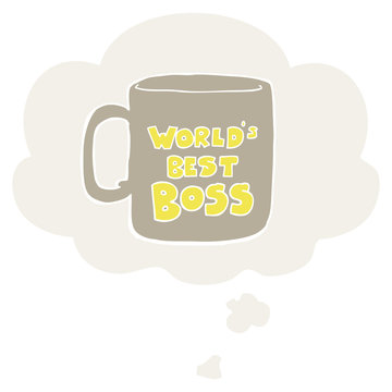 worlds best boss mug and thought bubble in retro style
