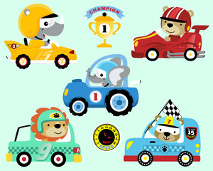Vector set of race car cartoon with animals racer
