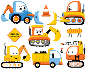 Papiers peints Cartoon voitures Vector set of construction vehicles cartoon