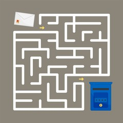 Maze game for children.  Put the envelope in the mailbox.
