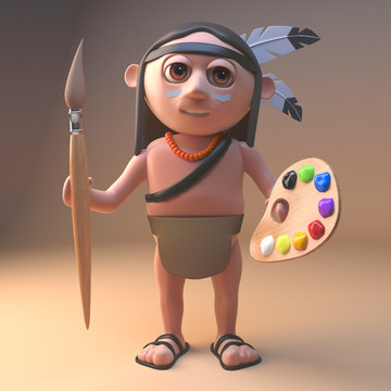 Artistic Native American Indian holding a paintbrush and palette, 3d illustration