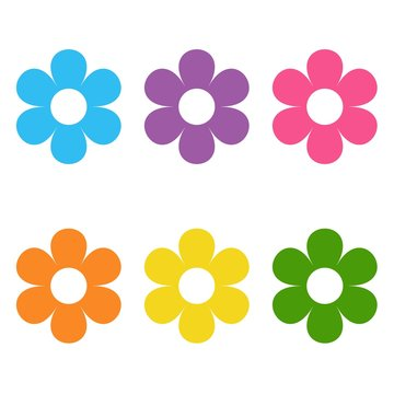 Set of flat icon flower icons in silhouette isolated on white. cute daisy