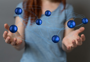 Abstract futuristic - Molecules technology with polygonal shapes on dark blue background.