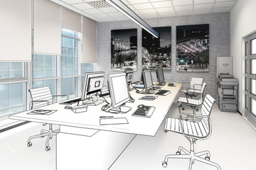 Common Computer Workplace Design (drawing) - 3d illustration