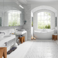 Renovation of an old building bathroom (focused) - 3d visualization
