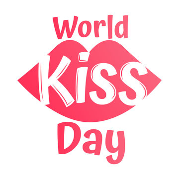 World kiss day vector with kiss icons on white background