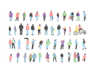 Set crowd of people characters performing various activities. Group of men and women flat design style cartoon characters