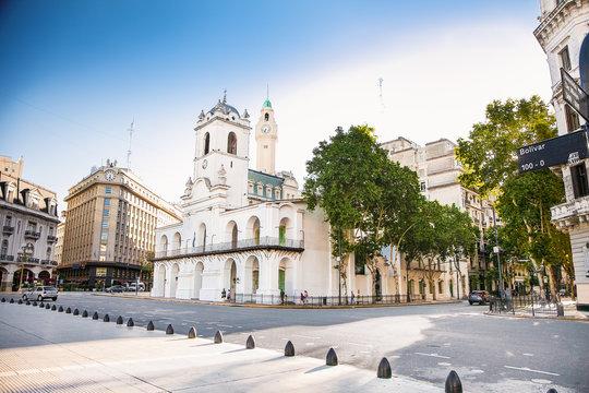 Cabildo building facade from Plaza de Mayo in Buenos Aires, Argentina.