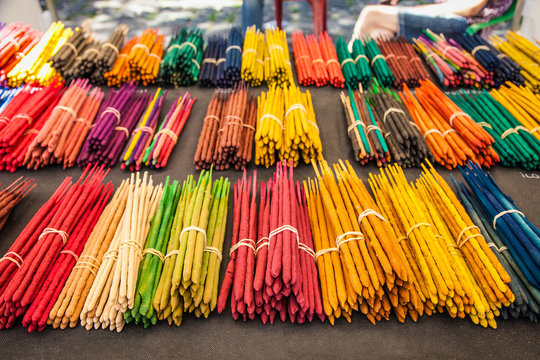 Many incense sticks for sale in the store