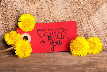 Red Label With English Calligraphy Thank You. Dandelion Blossom On Wooden Rustic Background
