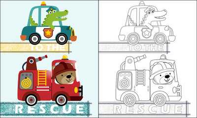 coloring book or page with rescue team cartoon with funny driver