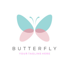 Colorful butterfly logo. Overlay transparent sheets style.