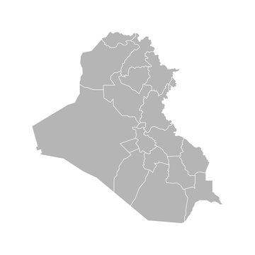 Vector isolated illustration of simplified administrative map of Iraq. Borders of the governorates (regions). Grey silhouettes. White outline