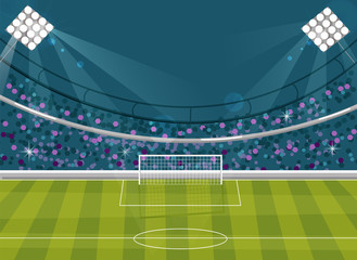 Football field Vector flat style. Soccer template brochure avatar. Supporters on backgrounds