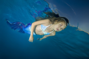 A girl in a mermaid costume poses underwater in a pool. Underwater girls pictures