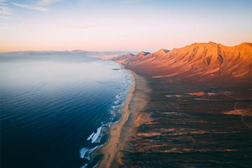Aerial View Of Cofete Beach Valley In Fuerteventura