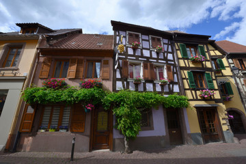 Close up of old colorful half-timbered houses in alsace in france.
