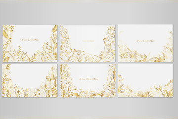 Set of vector greeting cards with golden plants, roses and decorative ornaments on a light background.