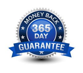 Very powerful, heavy, reliable, blue 365 day money back guarantee badge/seal with ribbon.