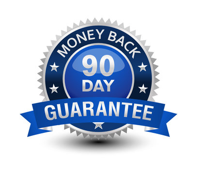 Very powerful, heavy, reliable, blue 90 day money back guarantee badge/seal with ribbon.