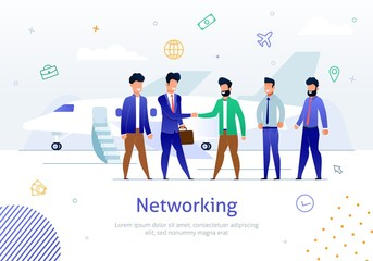 Networking with Foreign Partner Flat Vector Poster