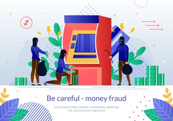 Money Fraud with ATM Payment Service Vector Poster