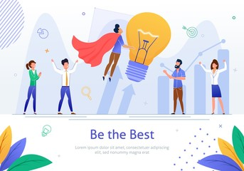 Be The Best in Business Flat Vector Banner Poster