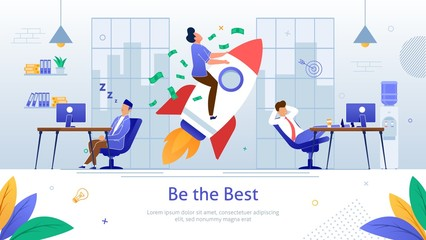 Winning Business Competition Flat Vector Poster