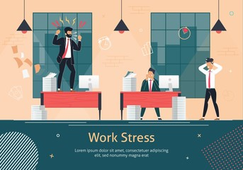Stress on Office Work Flat Vector Poster Template